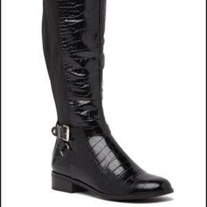 Aldo Croc-embossed Patent leather knee high boot